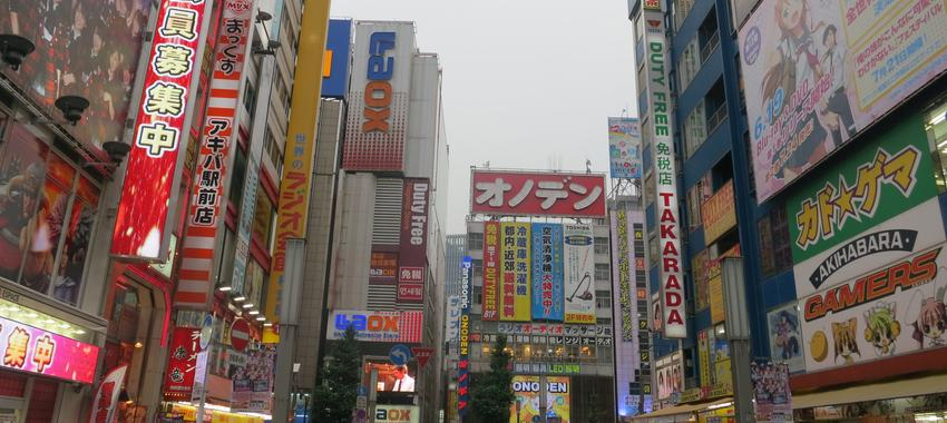 Surrounded by Blinking Lights and Ads in Tokyo